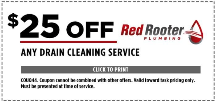 $25 Off Any Drain Cleaning Services. COUQ44. Coupon cannot be combined with other offers. Valid toward task pricing only. Must be presented at time of service.