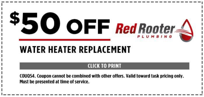 $50 Off Water Heater Replacement - COUQ54. Coupon cannot be combined with other offers. Valid toward task pricing only. Must be presented at time of service.