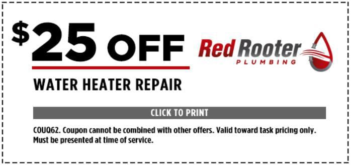 $25 Off Water Heater Repair - COUQ62. Coupon cannot be combined with other offers. Valid toward task pricing only. Must be presented at time of service.