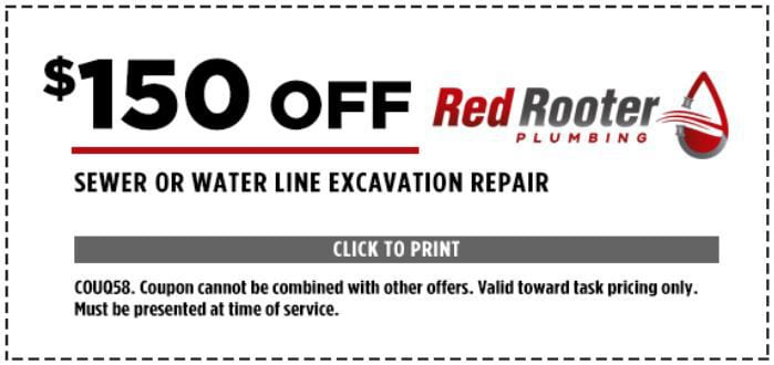 $150 Off Sewer or Water Line Excavation Repair - COUQ58. Coupon cannot be combined with other offers. Valid toward task pricing only. Must be presented at time of service.