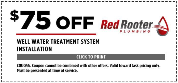$75 Off Well Water Treatment System Installation - COUQ56. Coupon cannot be combined with other offers. Valid toward task pricing only. Must be presented at time of service.